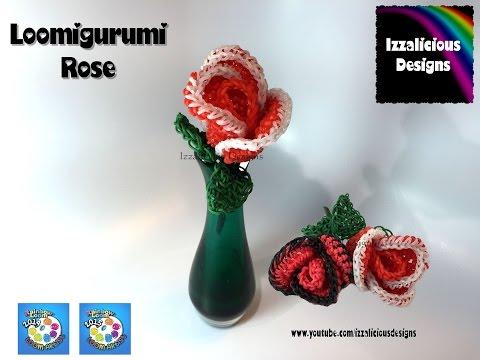 Rainbow Loom Loomigurumi Rose / Flower - crochet with loom bands
