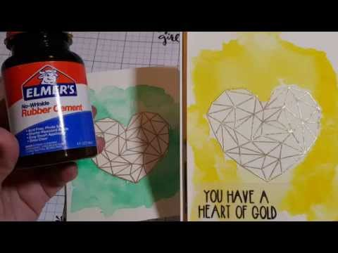 Tutorial: Watercolor, masking with Elmer's Rubber Cement & embossed stamped image