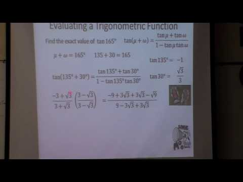 Sum and Difference Angles Exact value tan 165