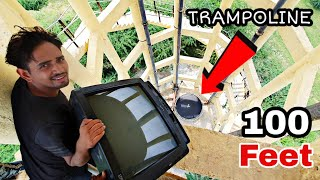 Download TV vs TRAMPOLINE From 100 Feet - Experiment Video