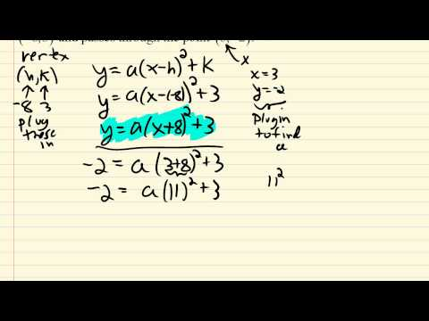 Find the equation of a parabola given vertex and another point