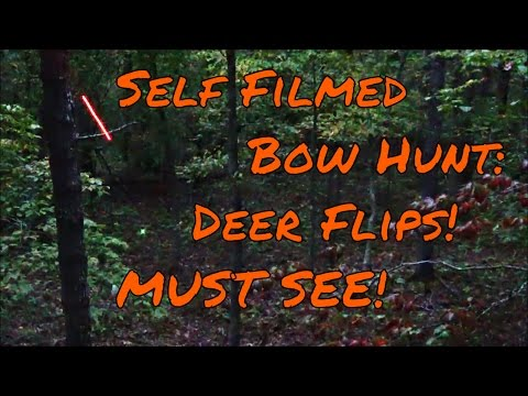 Self Filmed Bow Hunt: Deer Flips When Shot (MUST SEE)