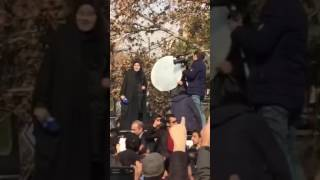 Tehran, Rafsanjani funeral - Protest against the Iranian TV network 01