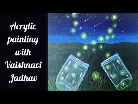Learn how to paint fireflies In Mason Jar Canvas Painting for beginners