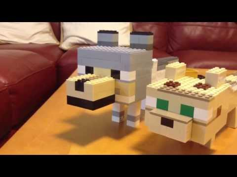 Lego minecraft baby wolf and baby ocelot.