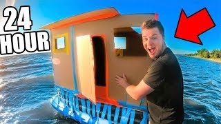 24 HOUR BOX FORT BOAT ON THE OCEAN!! 📦💧GONE WRONG!