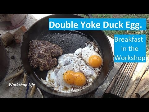 Breakfast in the workshop, homemade sausage and duck eggs.
