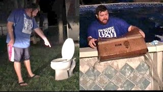 TOILET ON THE LAWN PRANK! GRIM GET REKT BY NASTY NEIGHBOR SDCC TOYS DESTROYED!