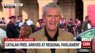 Breaking Catalonia President arrives at parliament for speech