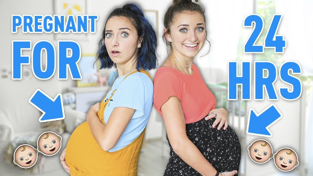 Identical Twins PREGNANT with TWINS for 24 Hours! *not real*