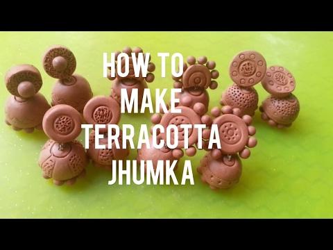 Terracotta jhumka/clay jewellery making ideas/terracotta jhumka making.