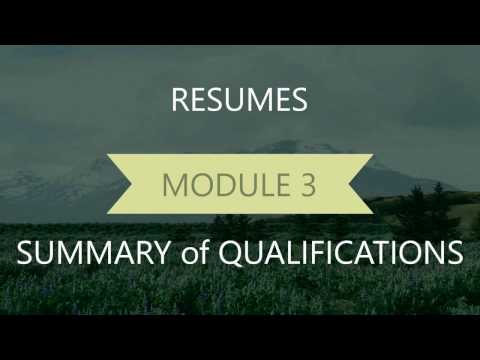 Resume Module 3 Summary of Qualifications or Profile   Final Copy