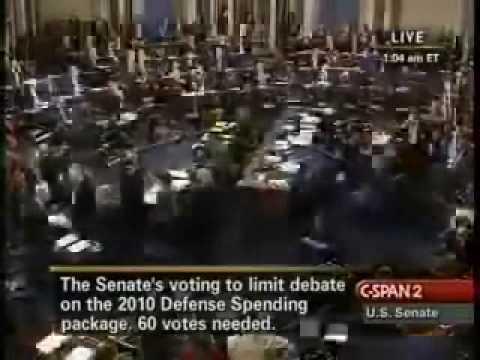 Part 1 of 3 CSPAN2 Senate vote to end filibuster 12-18-09