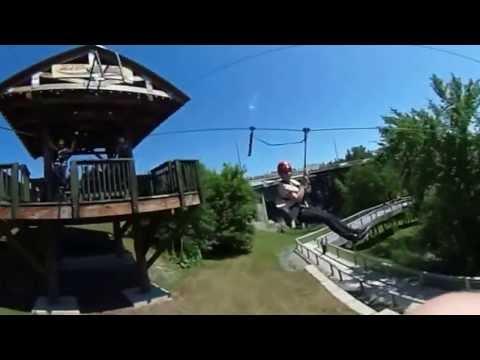 Grand Falls New Brunswick Zip Zag Zipline 1st pass