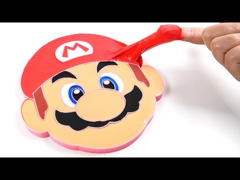 DIY How to Make Super Mario Face Slime Fluffy Clay Slime Learn Colors for Kids
