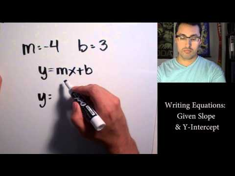 Writing Equations  Given Slope & Y Intercept