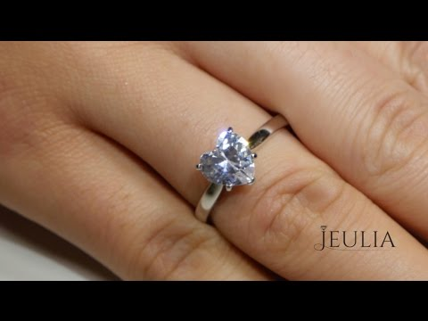 Jeulia 1 Carat Heart-Shaped Solitaire Ring 14K White Gold Plated - Jeulia Jewelry
