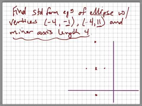 Find eqn of ellipse with vertices (-4,-1), (-4,11) and minor axis length 4.