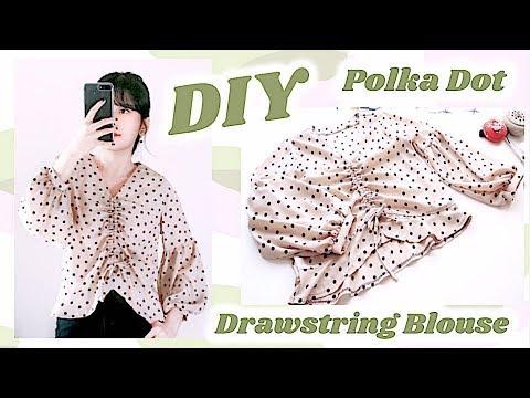 DIY Polka Dot Drawstring Blouse / 手作り服 / 블라우스만들기 / 手作教學 / Costura / Sewing Tutorialㅣmadebyaya
