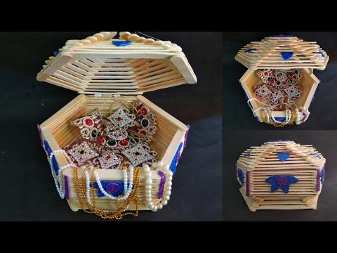How to make jewelry box |  popsicle stick crafts | Diy | Ice cream stick craft