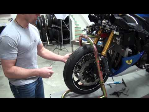 How To Install Front Forks on a Motorcycle from SportbikeTrackGear.com