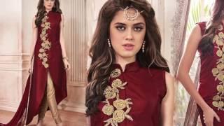 Designer Anarkali Suits Straight Cut Designs: Latest Boutique's front slit dresses DESIGNERS AND YOU