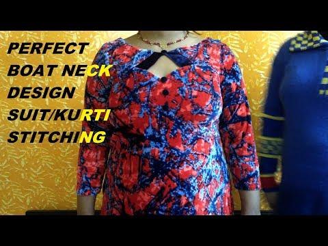 Simple suit/kurti/kameez stitching in Hindi - Boat neck design kurti