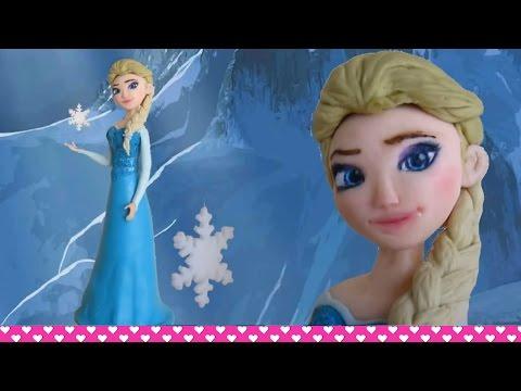 How to make a Fondant Disney Elsa Frozen Cake Topper Figurine Tutorial ENGLISH