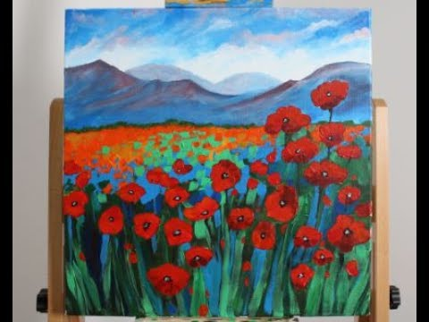 Art Lesson: How to Paint a Field of Poppies with Studio Acrylic