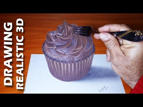 How To Draw A Chocolate Cupcake On Paper | Amazing 3D Drawings Art