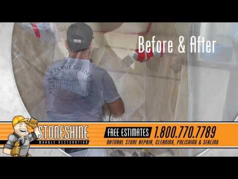 Travertine Shower Stall Polished and Restored in Laguna Beach