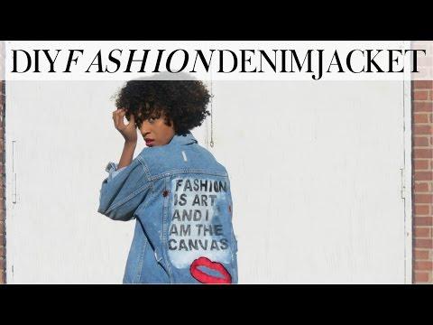How to Embroider and Paint Denim | DIY Denim Jacket | Kelsley Nicole