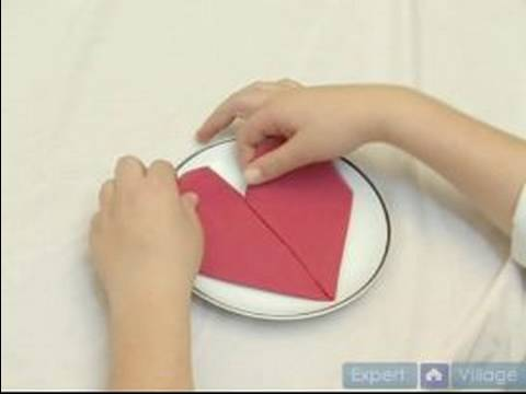 How to Fold Napkins : How to Make a Heart Fold in a Napkin