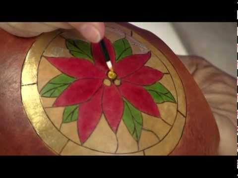 Making a Stained Glass Poinsettia Gourd - Gourd Crafting Secrets Revealed