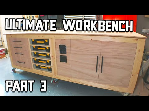 Installing Drawers & Part Organizer Racks // Ultimate Workbench Build Part 3