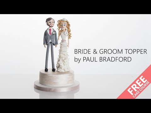 Learn how to make a bride and groom wedding cake topper