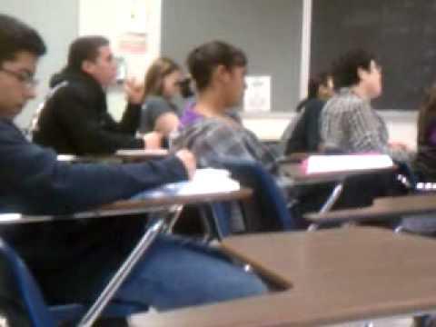 Girl falling asleep in class
