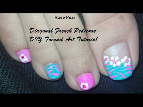 DIY Pink and Blue Paddle Pop Toenail Art Tutorial for Spring: Toenail Art Design | Rose Pearl