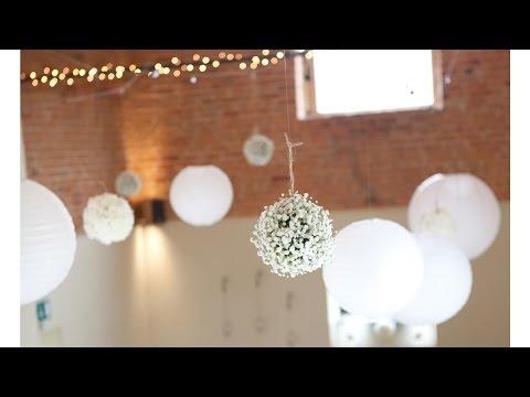 White Hanging Flower Balls | How To Create Pomanders/ Kissing Balls | Wedding Flowers