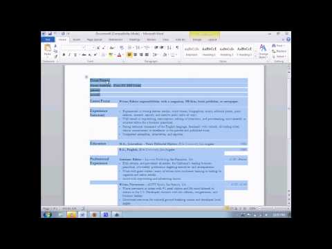 How to make a resume in Microsoft Word 2010