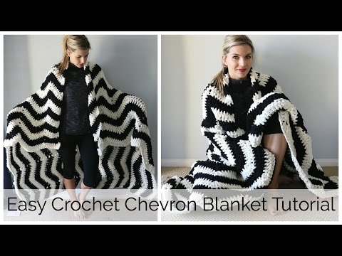 How to Crochet a Chevron Blanket Tutorial - Beginner Friendly