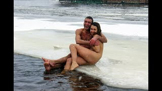 Russian tradition of bathing and swimming in the ice winter Christian holiday – Epiphany 2018