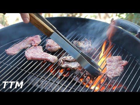 Grilled Beef Tri Tip Strips on the Weber Kettle~Grilling Steak~BBQ Finger Food Idea