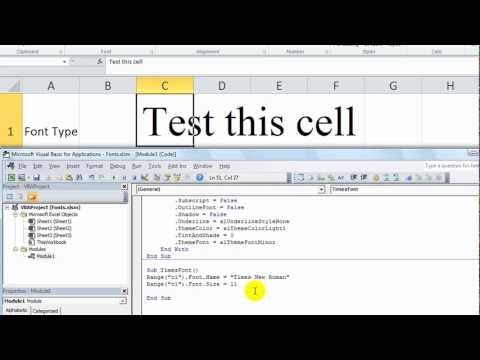 Excel VBA Basics #18 - Change the Font Type, Size etc using VBA!