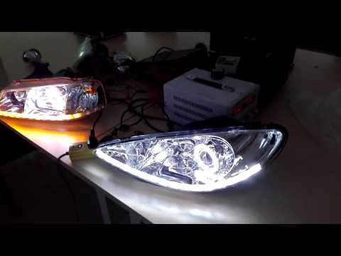 Dual Angel Eyes COB Bixenon Projector Lens with Flexible led drl