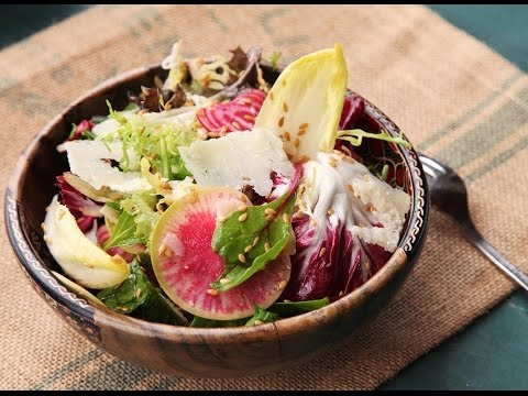 Recipe of Winter Greens Salad With Flax Seeds, Shaved Beets, and Radishes