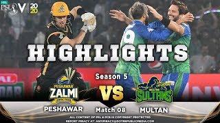 Peshawar Zalmi vs Multan Sultans   Full Match Highlights   Match 8   26 Feb   HBL PSL 2020
