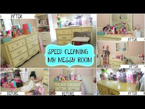 SPEED CLEANING MY MESSY ROOM   CLEANING
