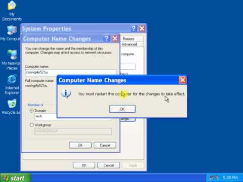 2 How to join XP Pro to Windows Server 2003 Domain