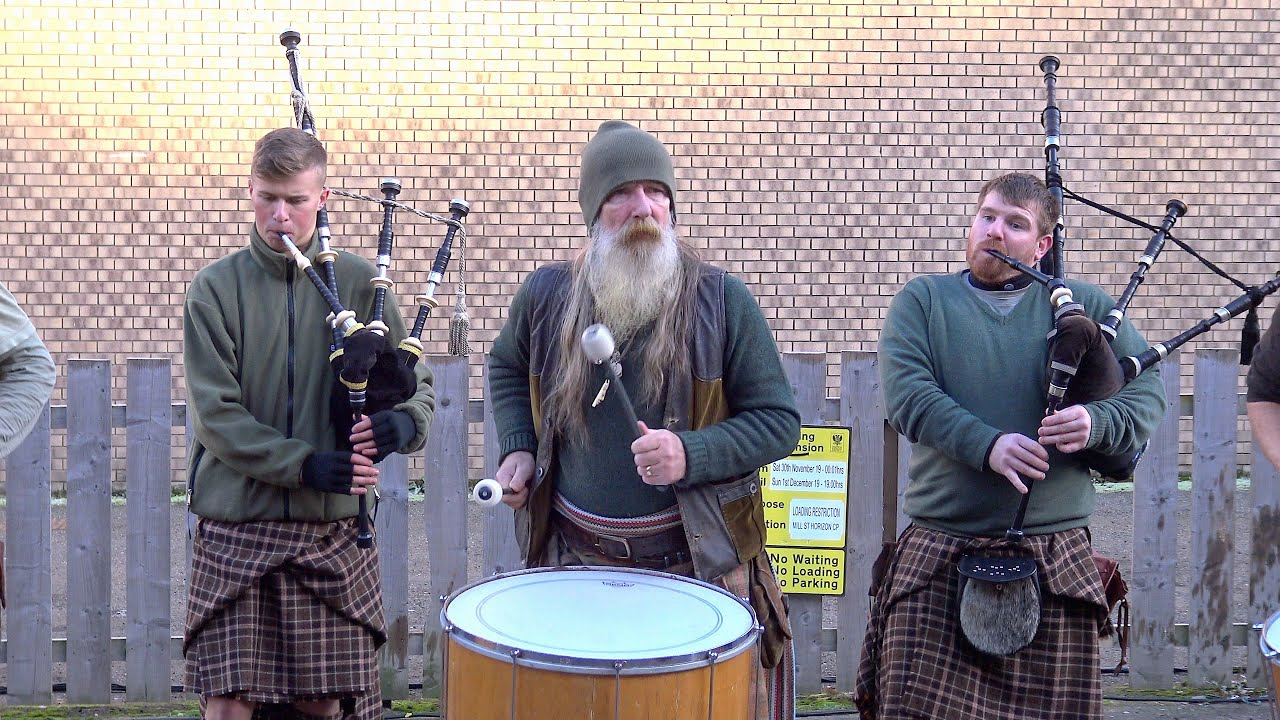 """Scottish tribal pipes & drums band Clanadonia playing """"Ya Bassa"""" during St Andrew's Day event 2019"""